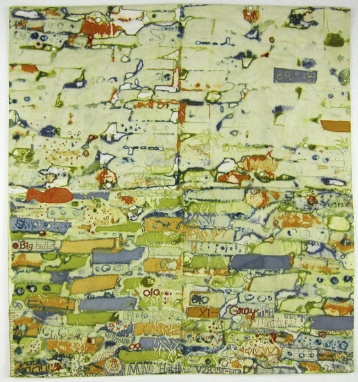 cotton fabrics, deconstructed screen-printed with dye and hand-dyed, applique, cotton batting, cotton stitching and thread painting