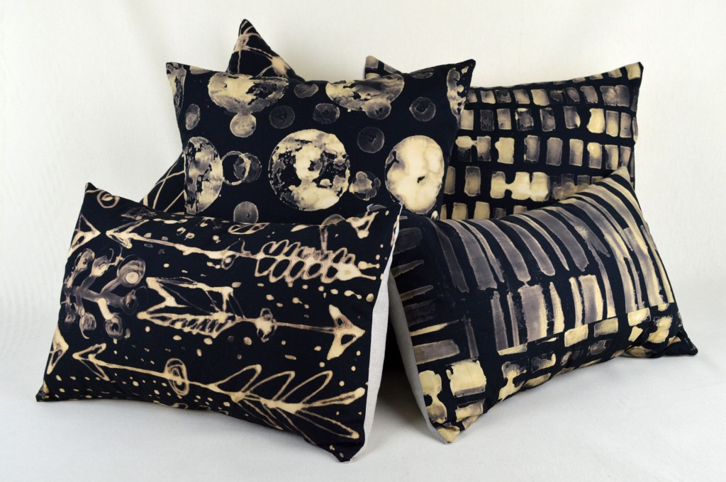 100% cotton hand-dyed fabric front, linen-backed one-of-a-kind pillows