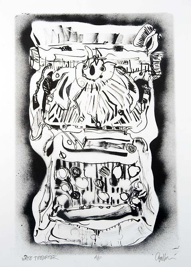 """White Typewriter"", lithograph, © Ayn Hanna"