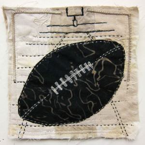 """Football"", Mini Textile Painting (fabrics, stitching), mounted on 8 x 8 x 2 inch birch panel"