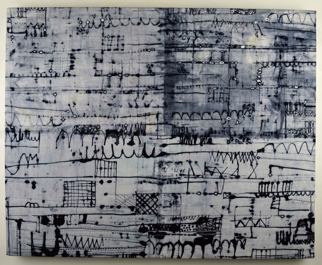 """City Lines"", 29 x 36 inches, Dye Drawing (cotton fabric, dye, stitching, batting) gallery wrapped over canvas stretcher frame, © Ayn Hanna"