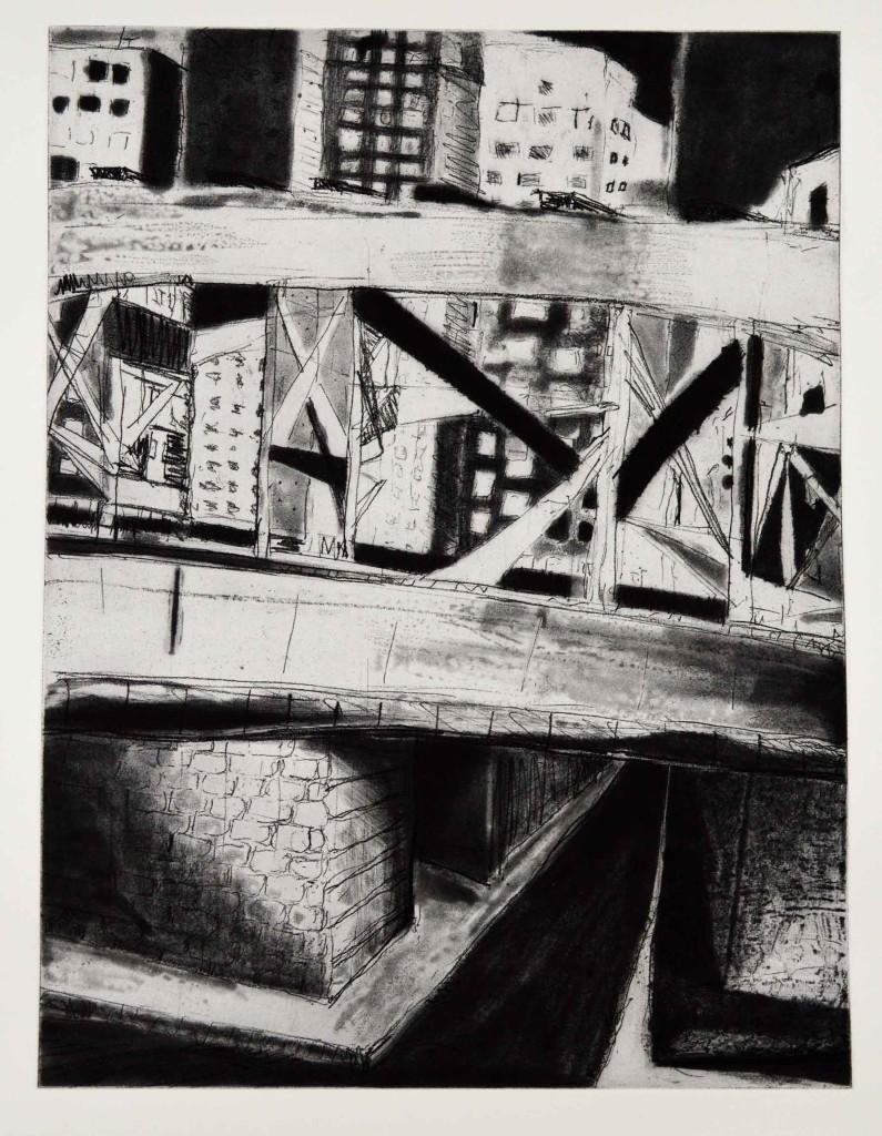"""""""Williamsburg Bridge"""", 24 x 18 inches, etching @ Ayn Hanna"""