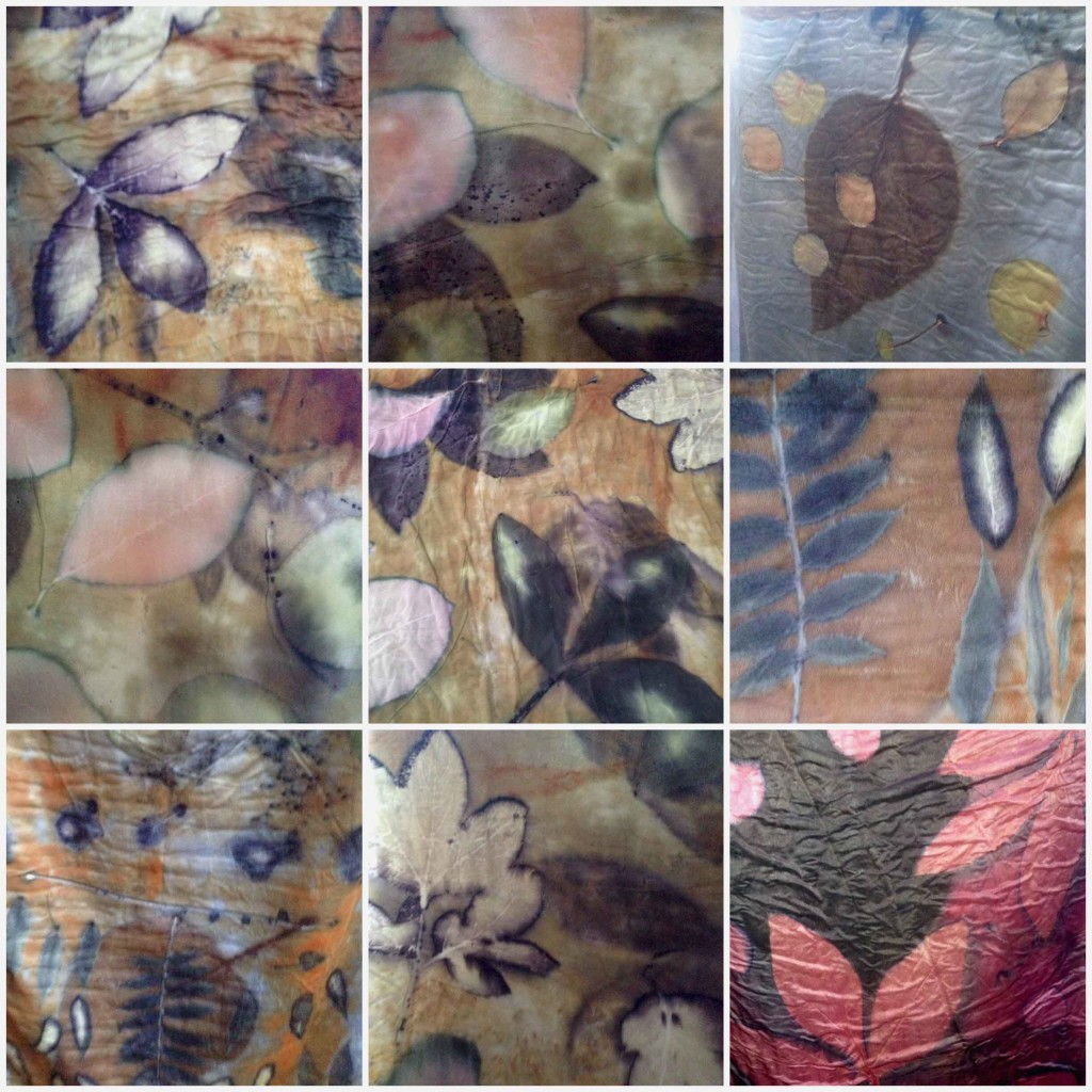 9 patch - plant prints on silk