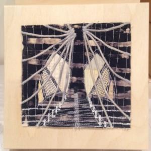 """NYC: Brooklyn Bridge"", 8 x 8 inches, hand-dyed fabrics, stitching, birch panel.  © Ayn Hanna"